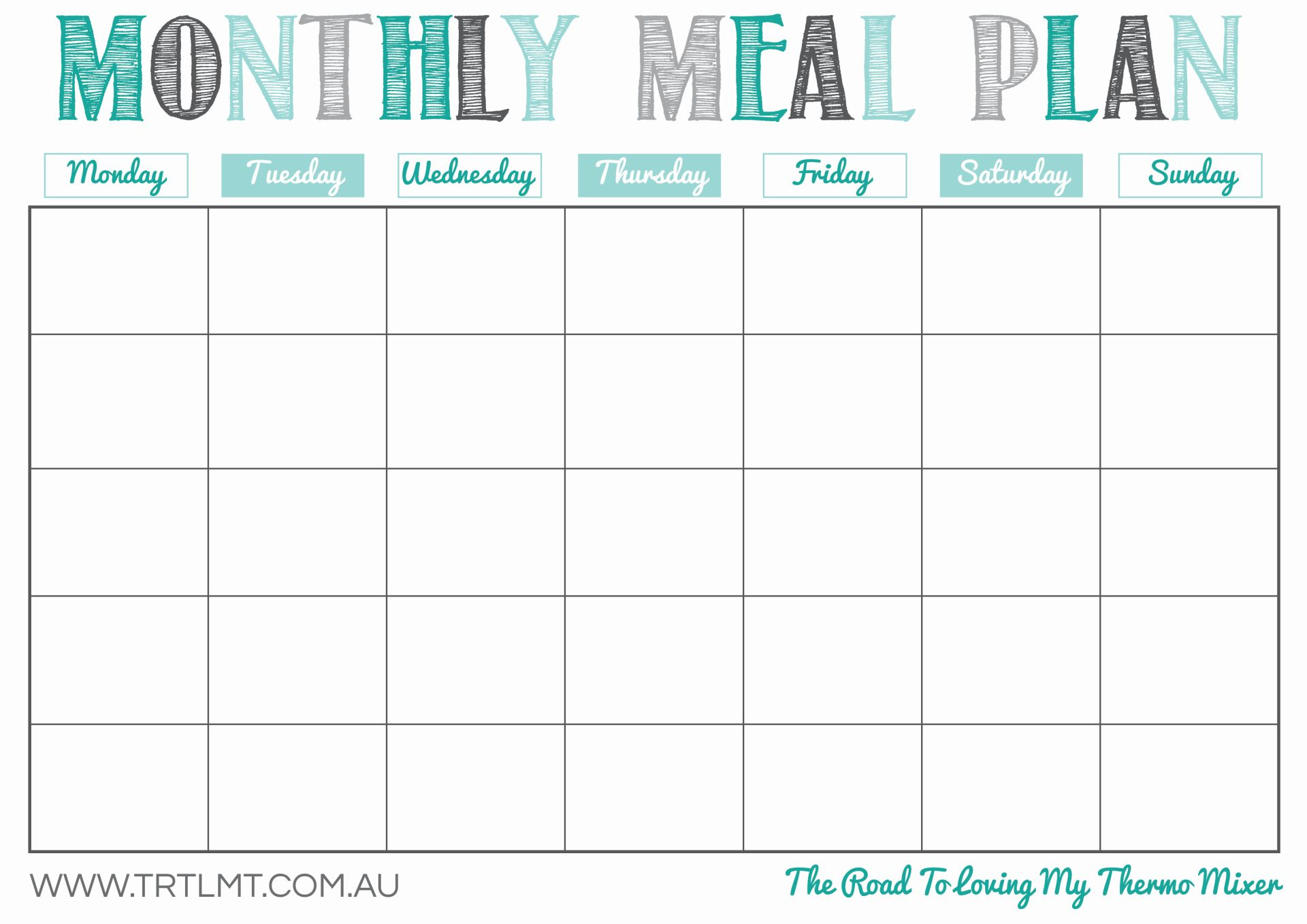 monthly meal calendar