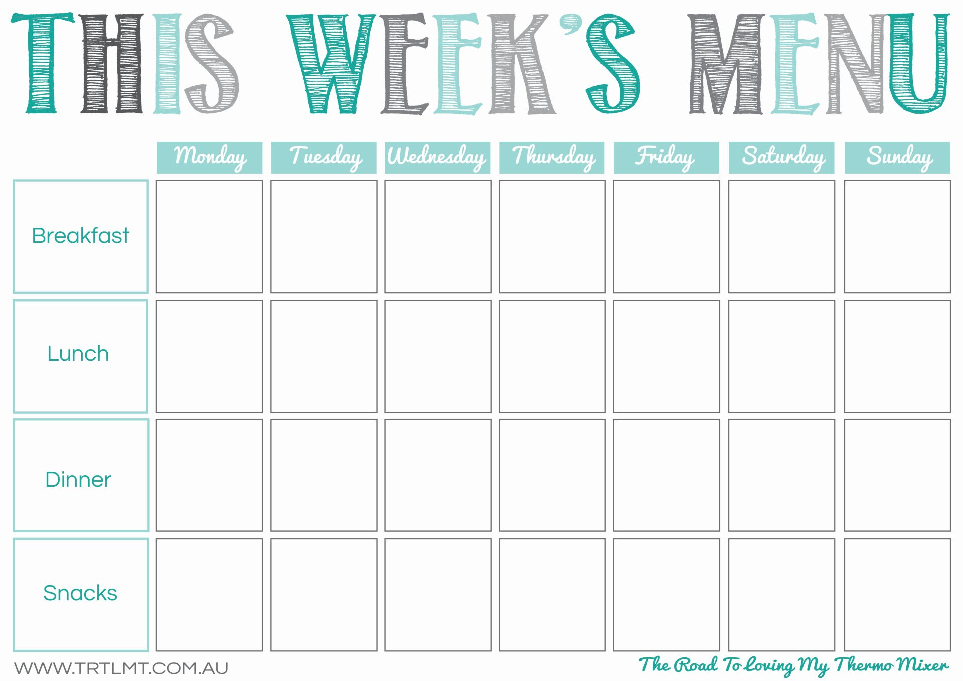 Printables the road to loving my thermo mixer for Monthly dinner menu template
