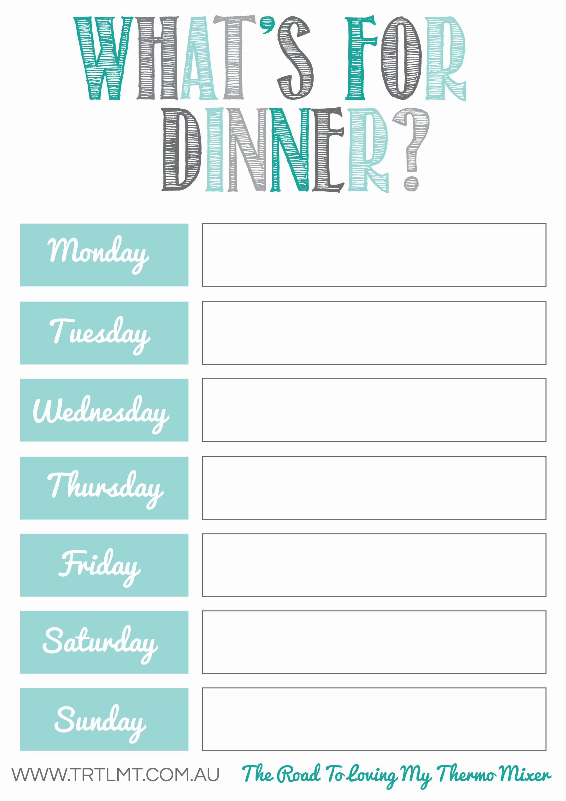 What's For Dinner Printable on white kitchen pantry