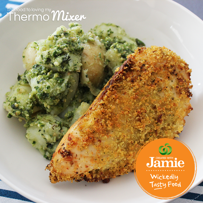 Created with Jamie |Crunchy Garlic Chicken Fillets with Pesto Potatoes