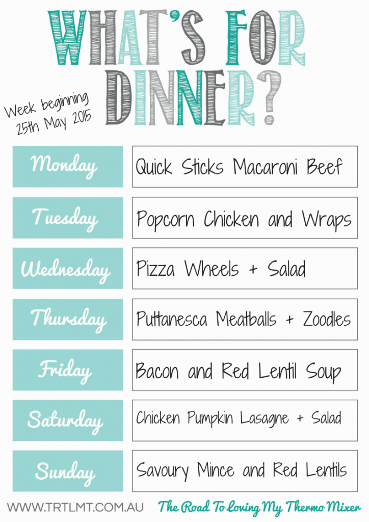 Thermomix Meal Plan 25.5.2015